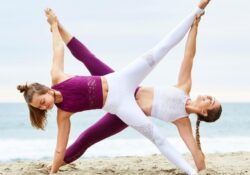 basic yoga poses with 2 people image