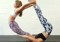 easy 2 person yoga poses hard photo