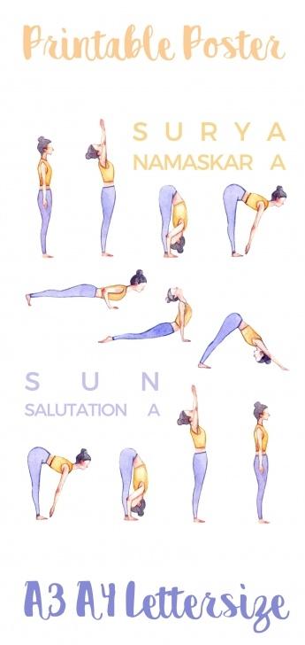 essential yoga poses sun salutation printable photos