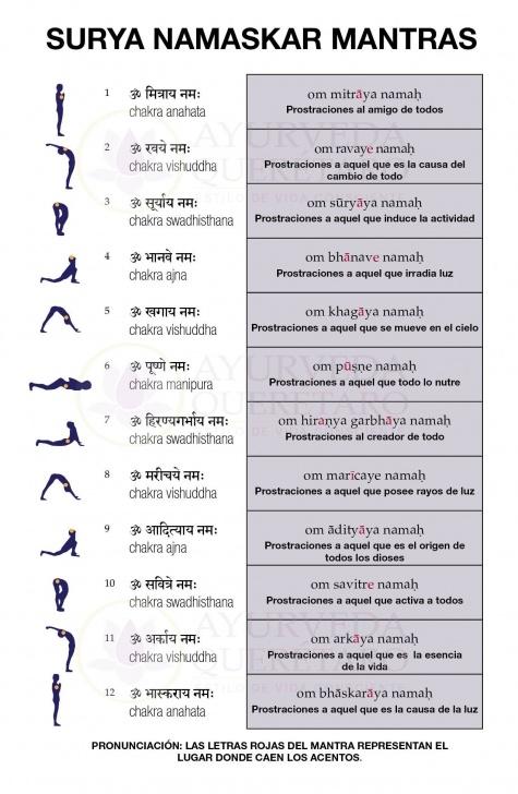 guide of surya namaskar yoga mantra picture