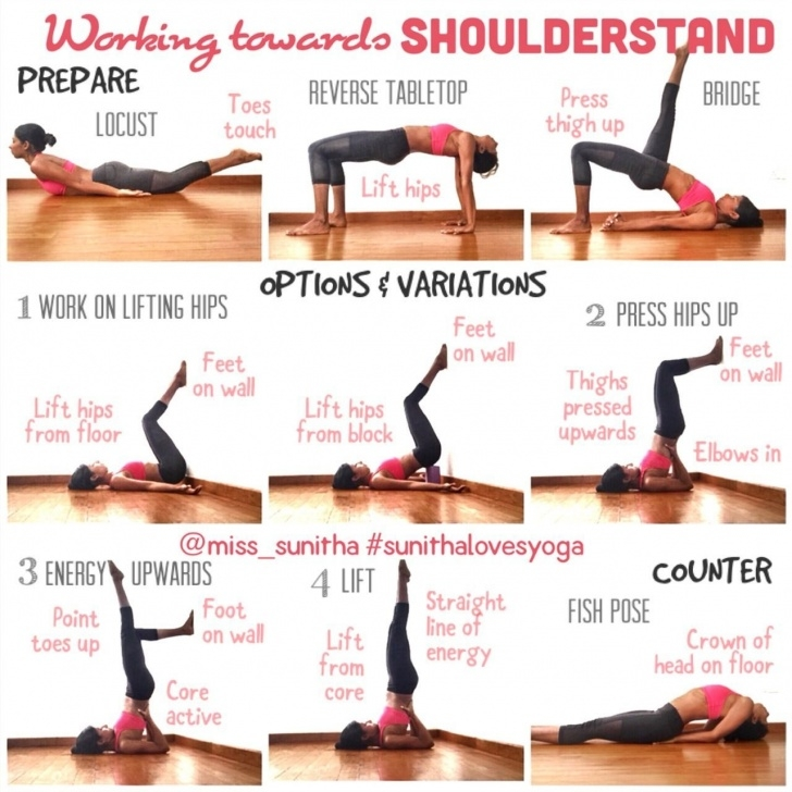 guide of yoga poses shoulder stand cheer photo