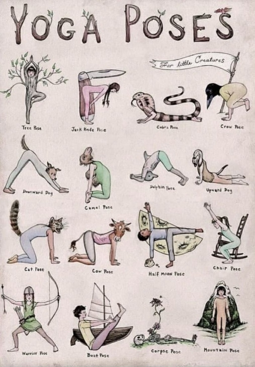 popular yoga poses drawing with name images