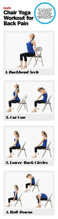 simple chair yoga for lower back pain image
