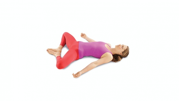 simple yoga butterfly pose lying down image